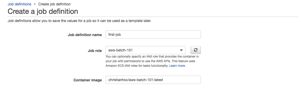 AWS Batch guide create job definition